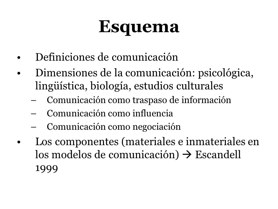 Esquema Definiciones de comunicación