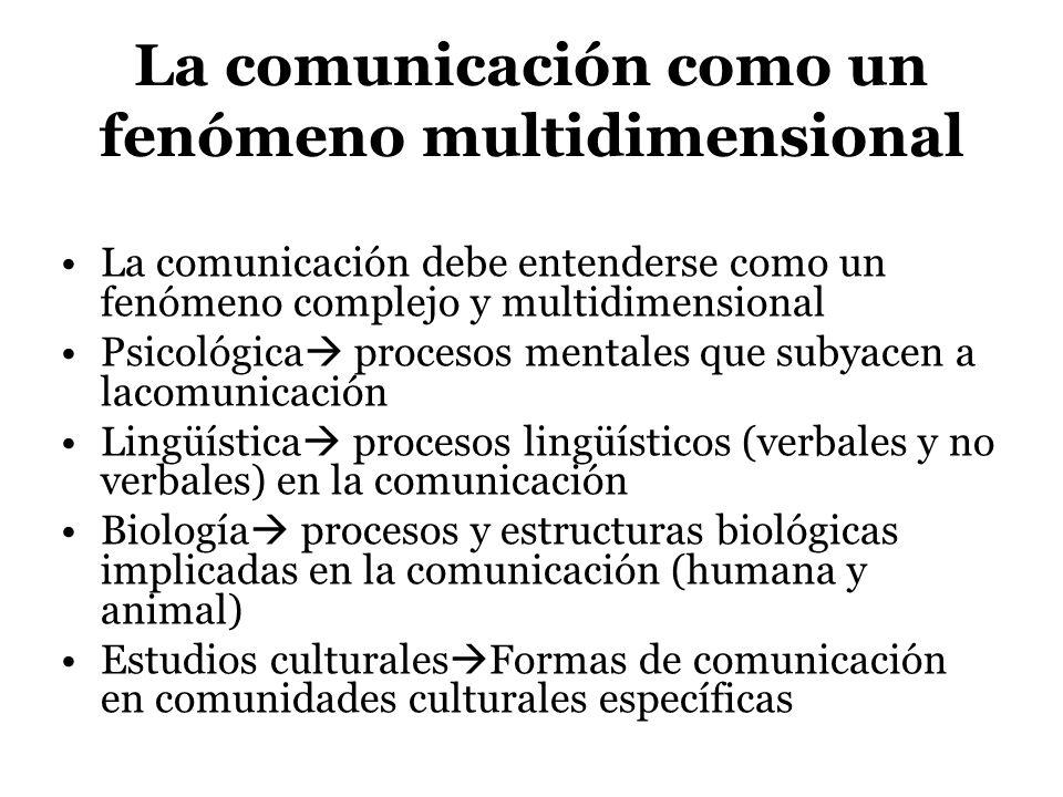 La comunicación como un fenómeno multidimensional