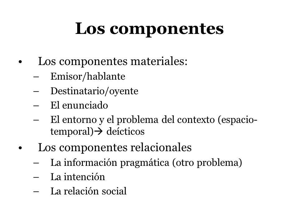Los componentes Los componentes materiales: