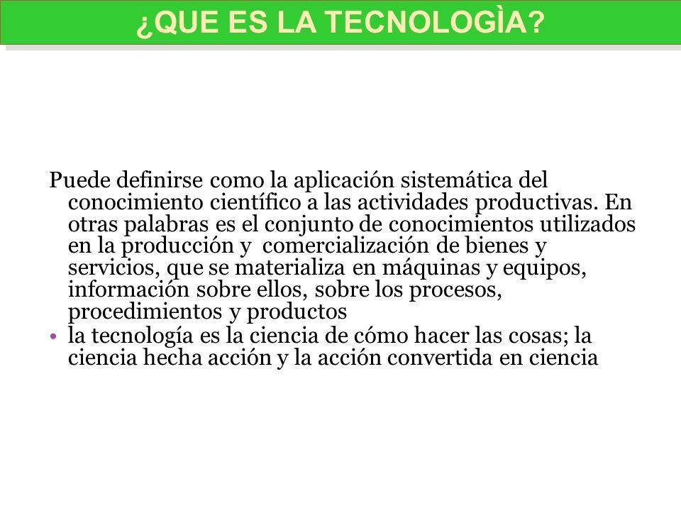 ¿QUE ES LA TECNOLOGÌA