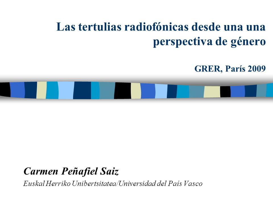 Las tertulias radiofónicas desde una una perspectiva de género GRER, París 2009