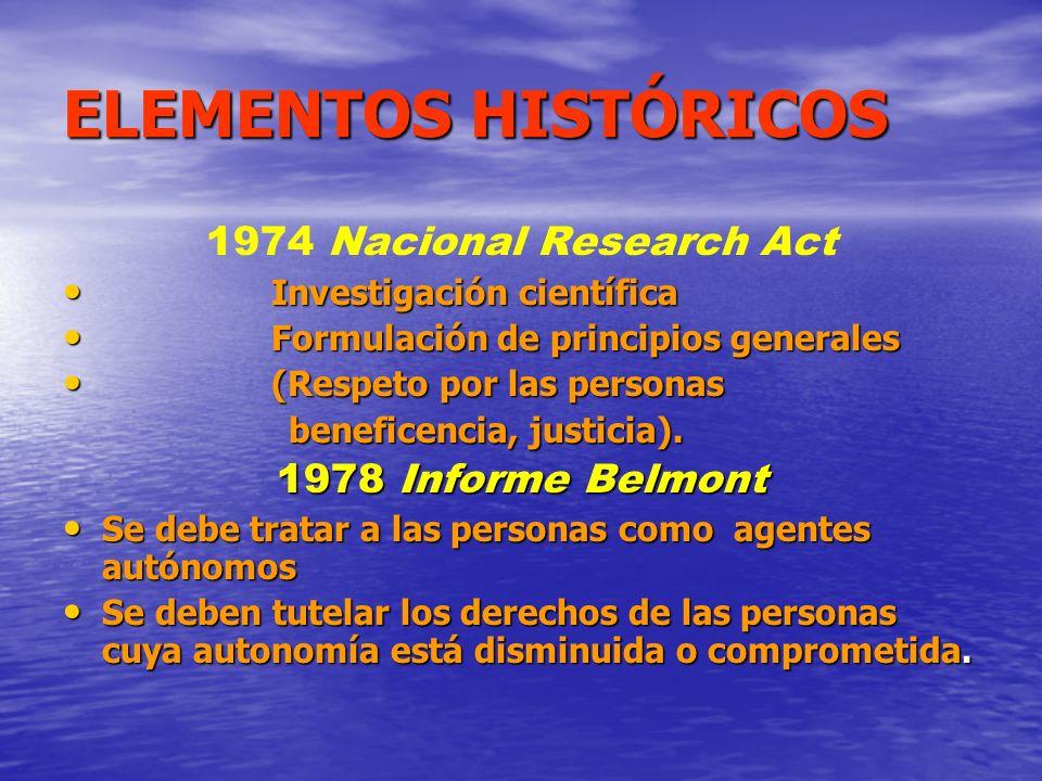 ELEMENTOS HISTÓRICOS 1974 Nacional Research Act 1978 Informe Belmont