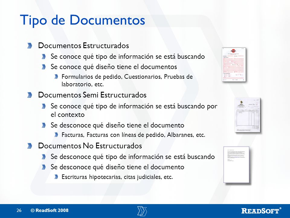Tipo de Documentos Documentos Estructurados