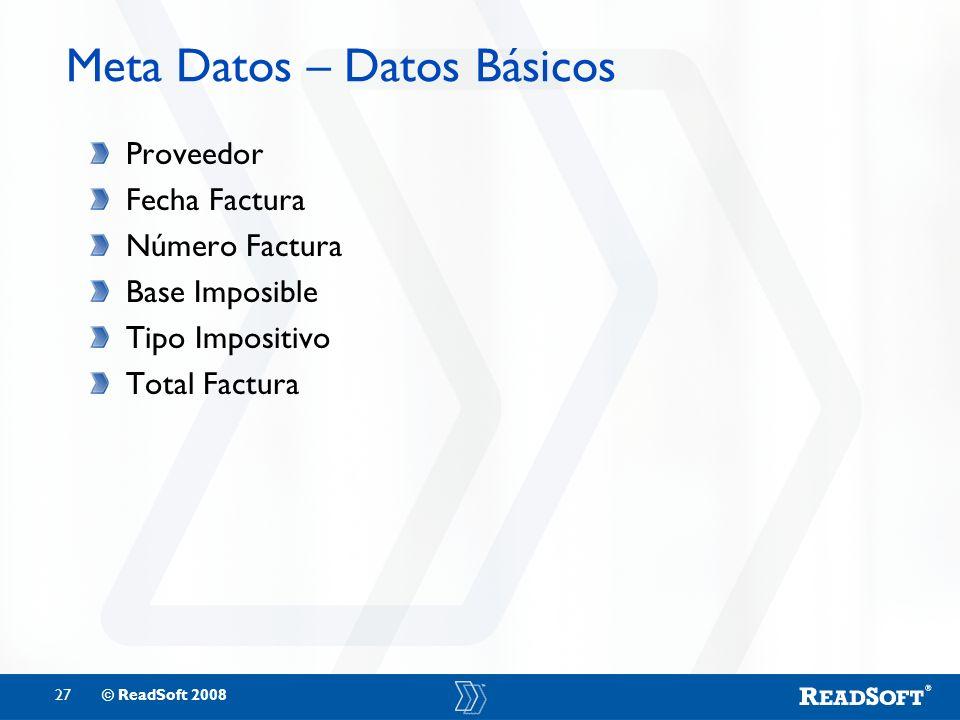 Meta Datos – Datos Básicos
