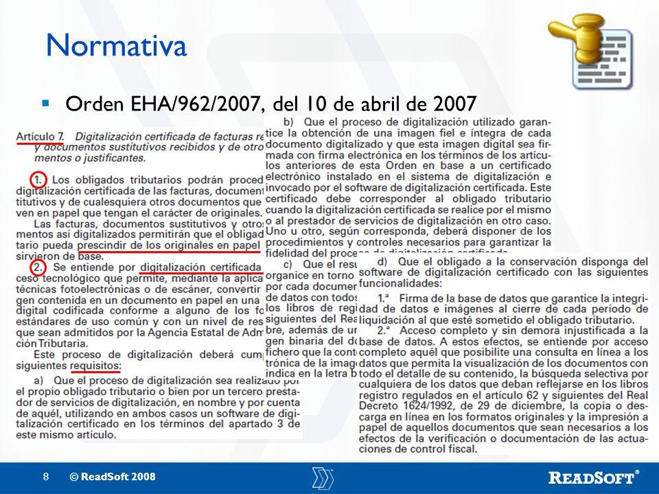 Normativa Orden EHA/962/2007, del 10 de abril de 2007