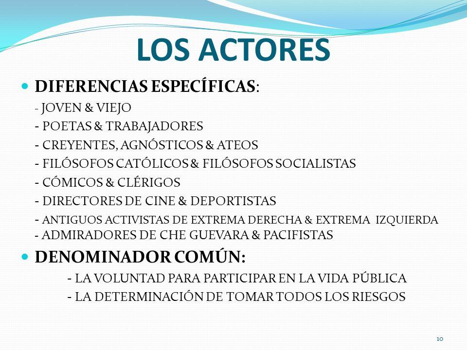 LOS ACTORES DIFERENCIAS ESPECÍFICAS: DENOMINADOR COMÚN: