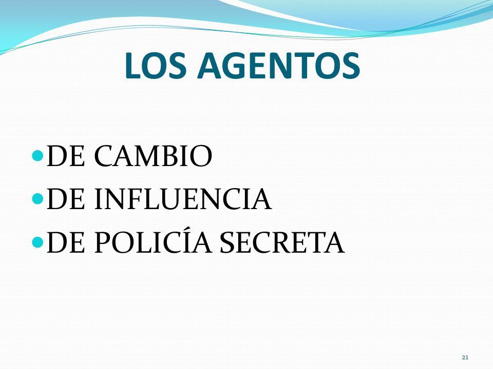 LOS AGENTOS DE CAMBIO DE INFLUENCIA DE POLICÍA SECRETA