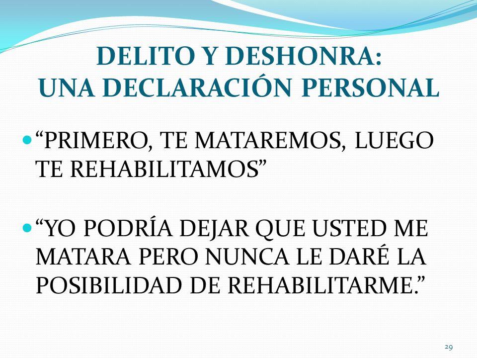 DELITO Y DESHONRA: UNA DECLARACIÓN PERSONAL
