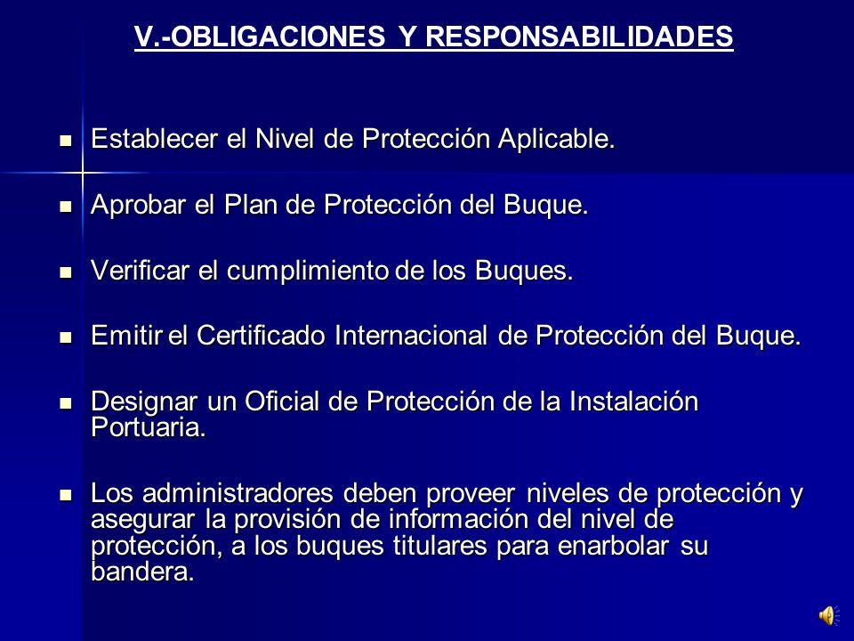 V.-OBLIGACIONES Y RESPONSABILIDADES