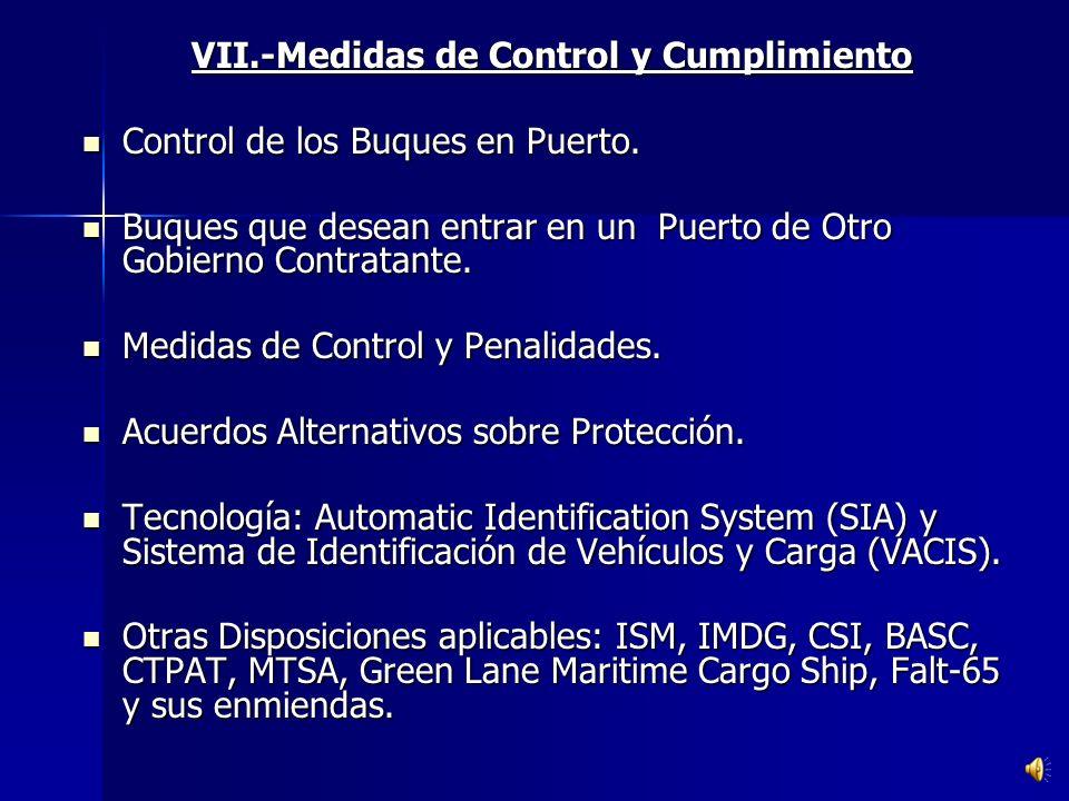 VII.-Medidas de Control y Cumplimiento
