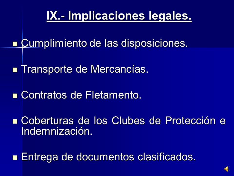 IX.- Implicaciones legales.