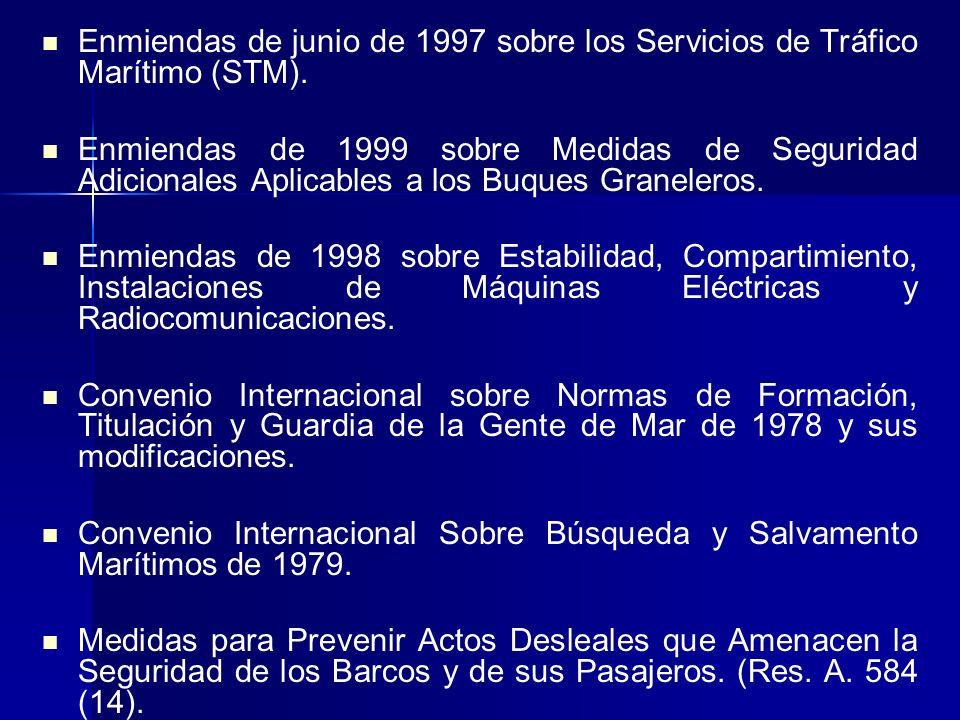 Enmiendas de junio de 1997 sobre los Servicios de Tráfico Marítimo (STM).
