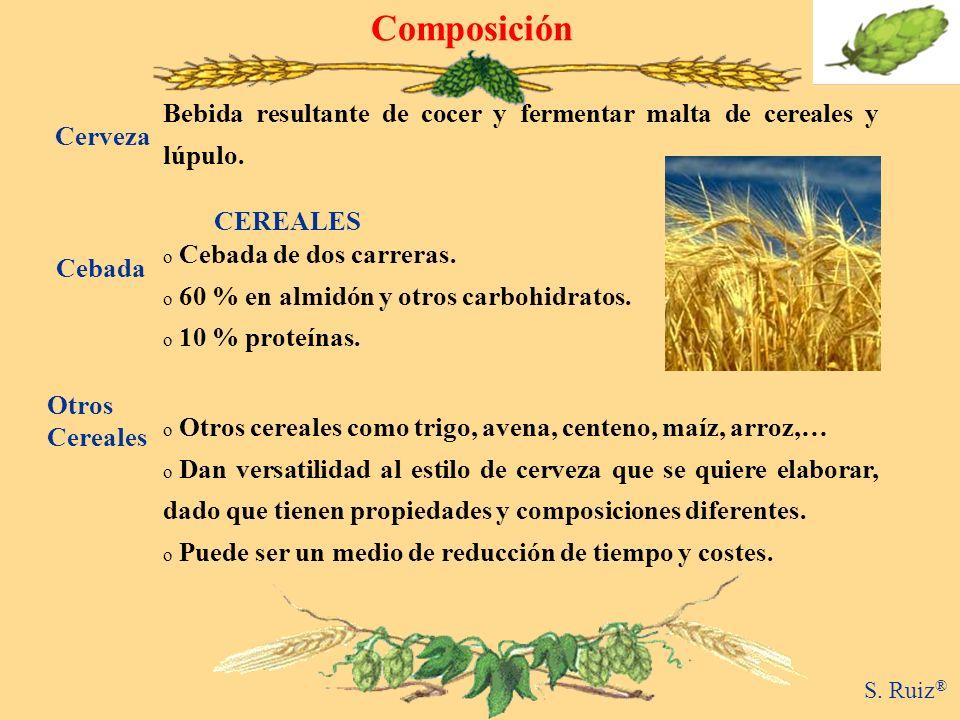 Composición Bebida resultante de cocer y fermentar malta de cereales y lúpulo. Cerveza. CEREALES.