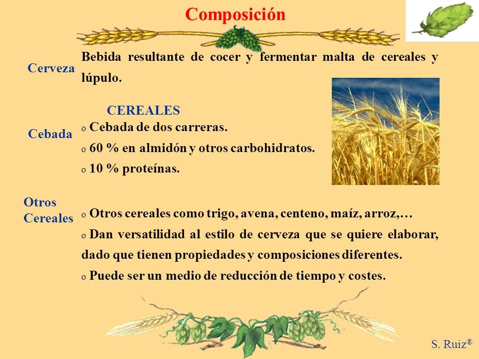 ComposiciónBebida resultante de cocer y fermentar malta de cereales y lúpulo. Cerveza. CEREALES. Cebada de dos carreras.