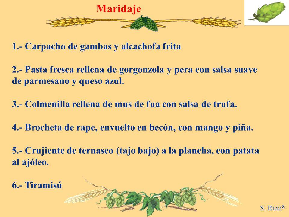 Maridaje 1.- Carpacho de gambas y alcachofa frita