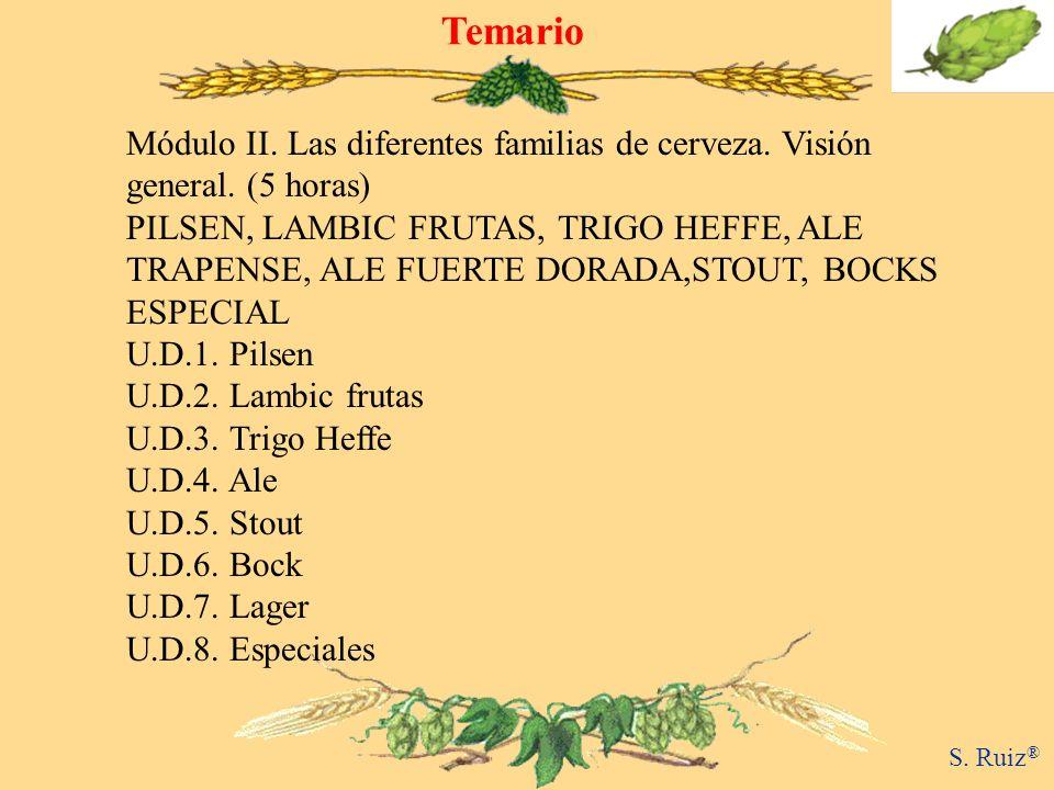 Temario Módulo II. Las diferentes familias de cerveza. Visión general. (5 horas)