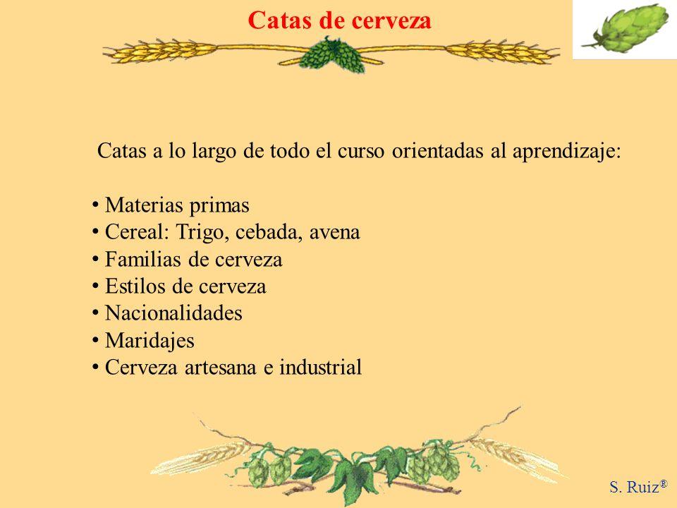 Catas de cerveza Catas a lo largo de todo el curso orientadas al aprendizaje: Materias primas. Cereal: Trigo, cebada, avena.