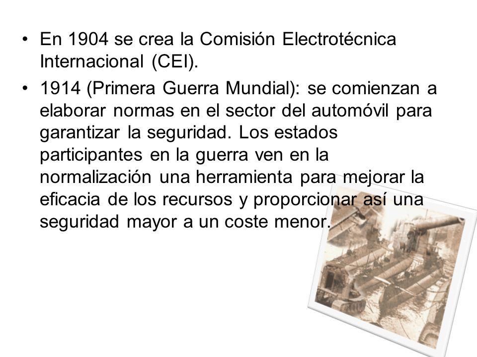 En 1904 se crea la Comisión Electrotécnica Internacional (CEI).