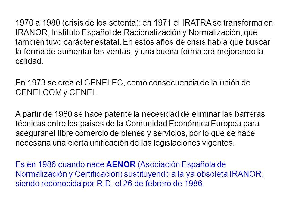 1970 a 1980 (crisis de los setenta): en 1971 el IRATRA se transforma en IRANOR, Instituto Español de Racionalización y Normalización, que también tuvo carácter estatal. En estos años de crisis había que buscar la forma de aumentar las ventas, y una buena forma era mejorando la calidad.