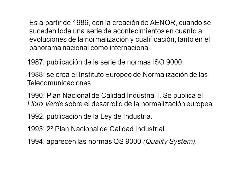Es a partir de 1986, con la creación de AENOR, cuando se suceden toda una serie de acontecimientos en cuanto a evoluciones de la normalización y cualificación; tanto en el panorama nacional como internacional.