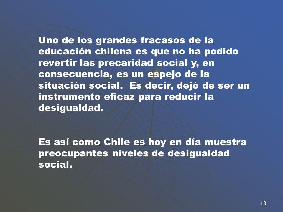 Uno de los grandes fracasos de la educación chilena es que no ha podido revertir las precaridad social y, en consecuencia, es un espejo de la situación social. Es decir, dejó de ser un instrumento eficaz para reducir la desigualdad.