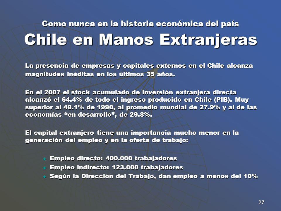 Como nunca en la historia económica del país Chile en Manos Extranjeras