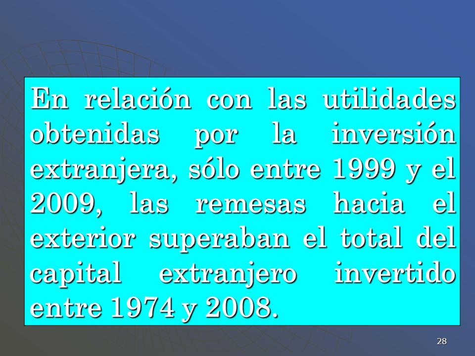 En relación con las utilidades obtenidas por la inversión extranjera, sólo entre 1999 y el 2009, las remesas hacia el exterior superaban el total del capital extranjero invertido entre 1974 y 2008.