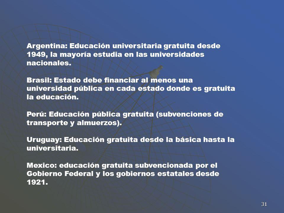 Uruguay: Educación gratuita desde la básica hasta la universitaria.