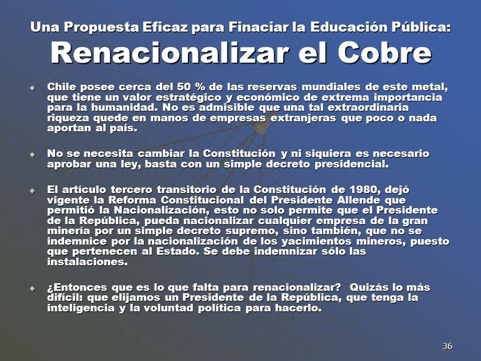 Una Propuesta Eficaz para Finaciar la Educación Pública: Renacionalizar el Cobre