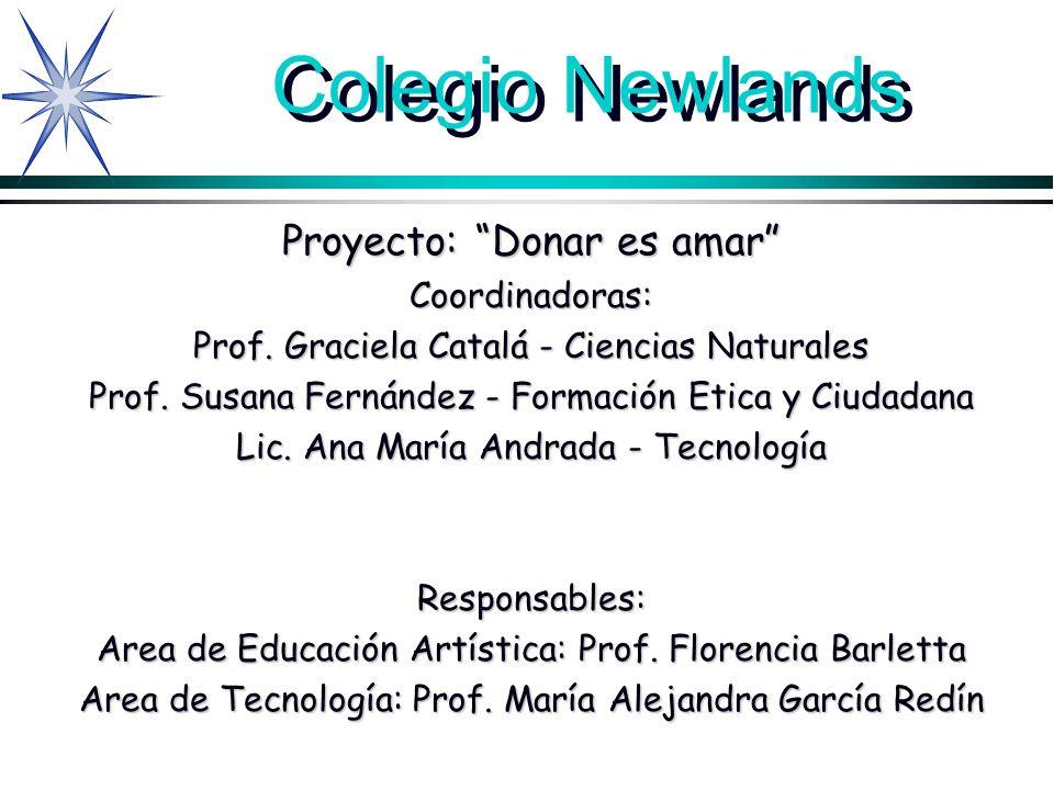 Colegio Newlands Proyecto: Donar es amar Coordinadoras: