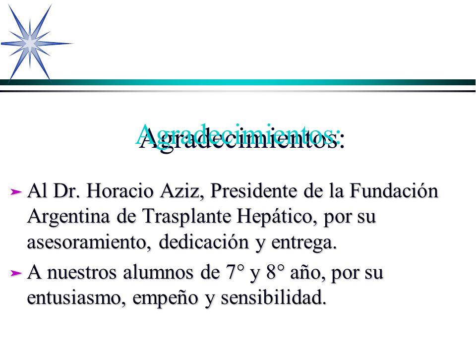 Agradecimientos:Al Dr. Horacio Aziz, Presidente de la Fundación Argentina de Trasplante Hepático, por su asesoramiento, dedicación y entrega.