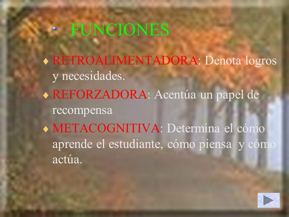 FUNCIONES RETROALIMENTADORA: Denota logros y necesidades.