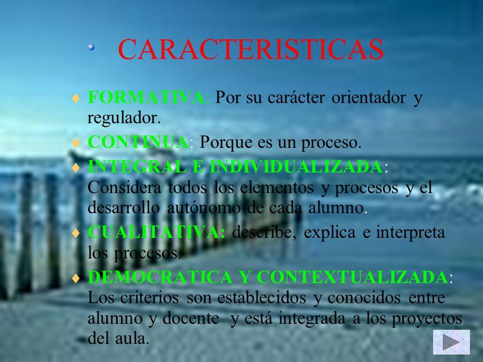 CARACTERISTICAS FORMATIVA: Por su carácter orientador y regulador.