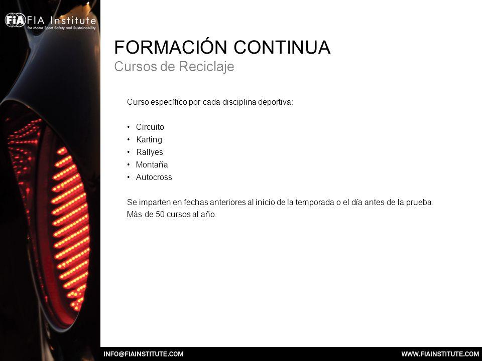 FORMACIÓN CONTINUA Cursos de Reciclaje