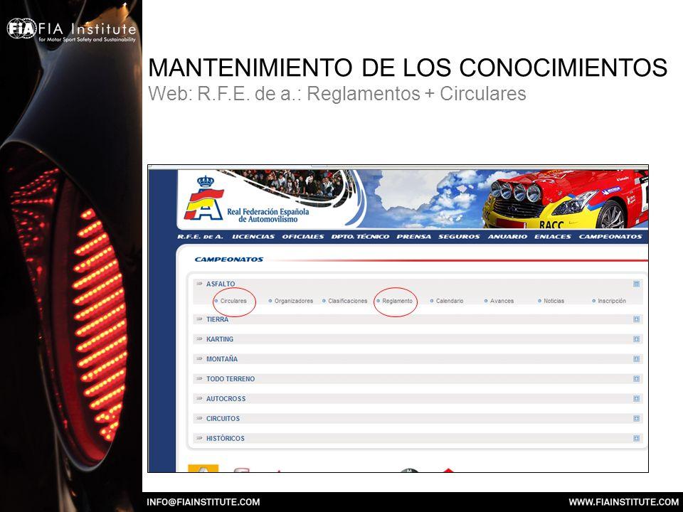 MANTENIMIENTO DE LOS CONOCIMIENTOS Web: R. F. E. de a