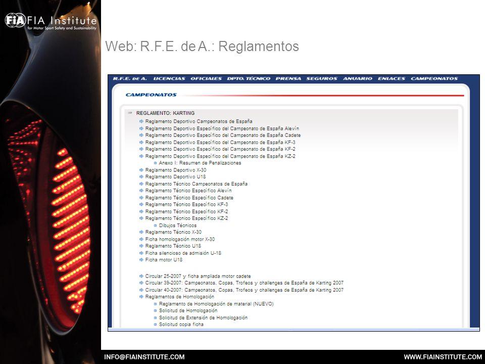 Web: R.F.E. de A.: Reglamentos