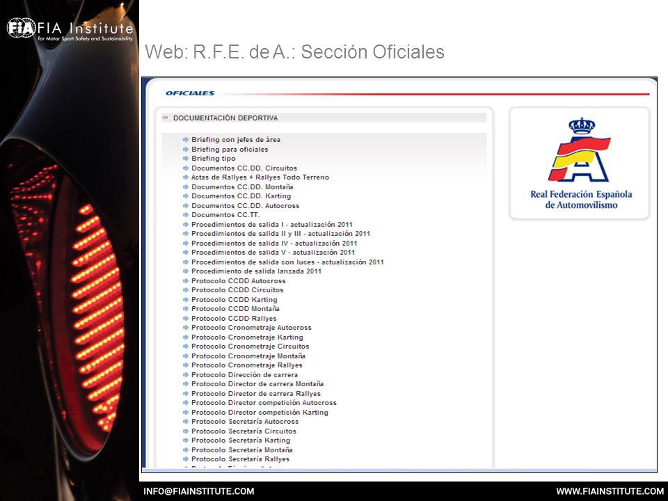 Web: R.F.E. de A.: Sección Oficiales