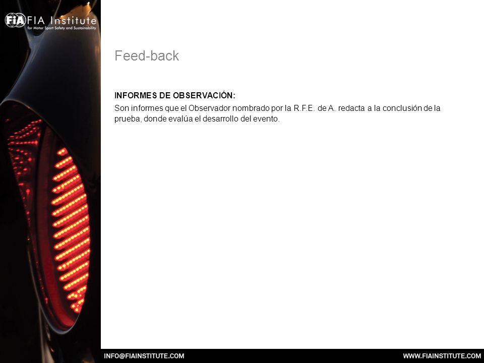 Feed-back INFORMES DE OBSERVACIÓN: