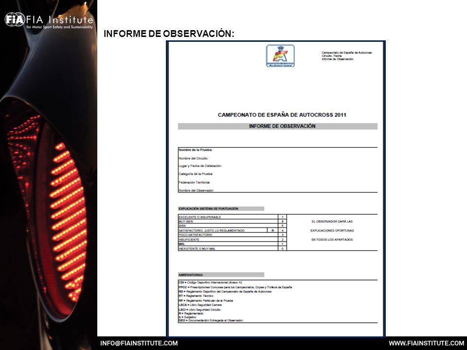 INFORME DE OBSERVACIÓN: