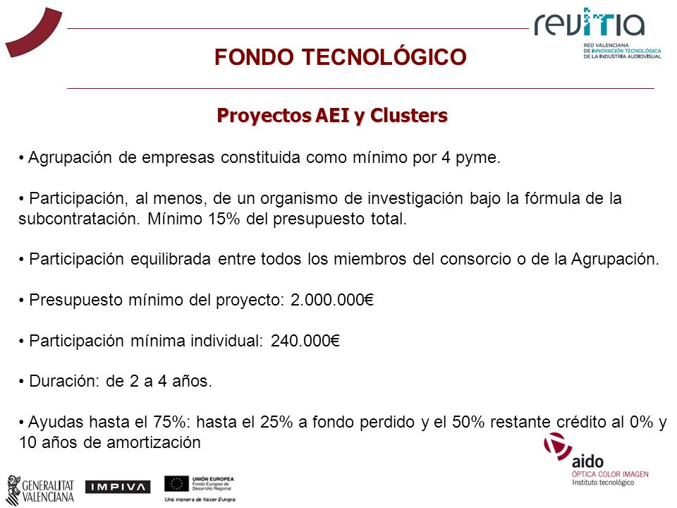 Proyectos AEI y Clusters