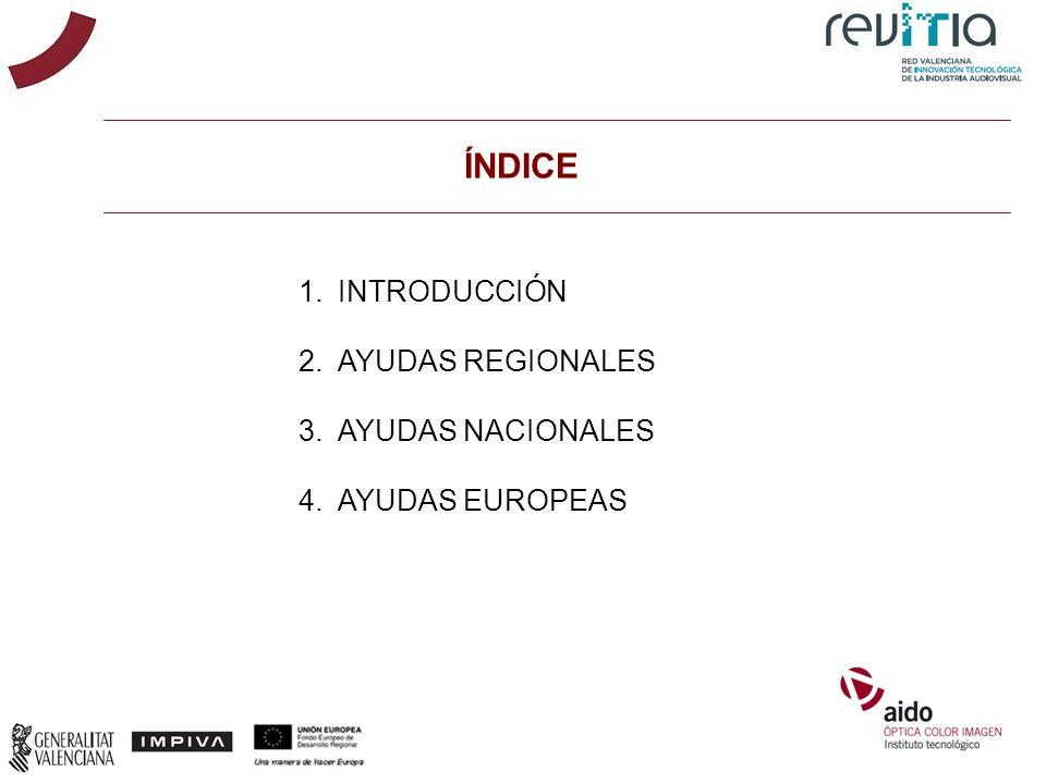 ÍNDICE INTRODUCCIÓN AYUDAS REGIONALES AYUDAS NACIONALES