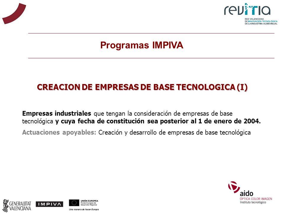 CREACION DE EMPRESAS DE BASE TECNOLOGICA (I)