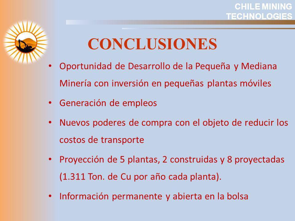 CHILE MINING TECHNOLOGIES. CONCLUSIONES. Oportunidad de Desarrollo de la Pequeña y Mediana Minería con inversión en pequeñas plantas móviles.