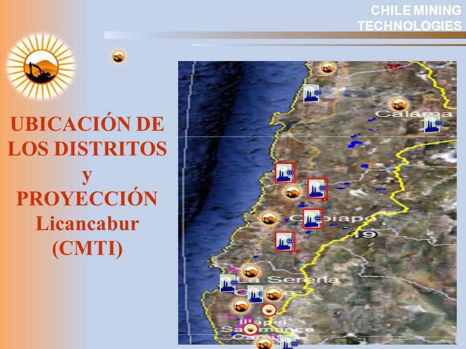 UBICACIÓN DE LOS DISTRITOS y PROYECCIÓN Licancabur (CMTI)
