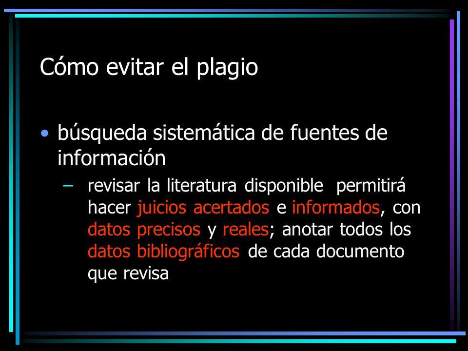 Cómo evitar el plagio búsqueda sistemática de fuentes de información