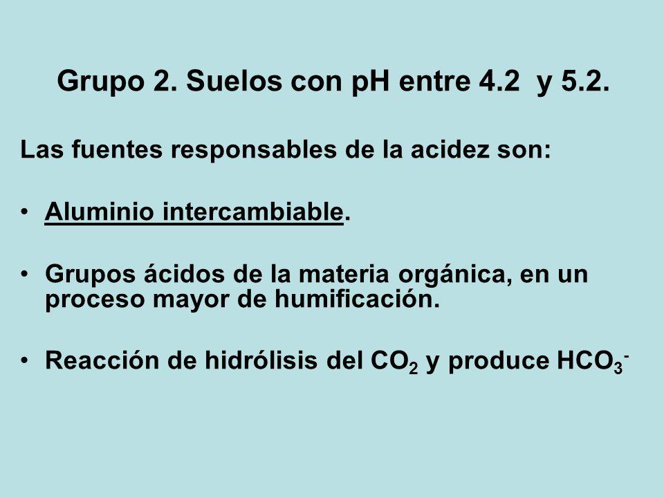 Grupo 2. Suelos con pH entre 4.2 y 5.2.