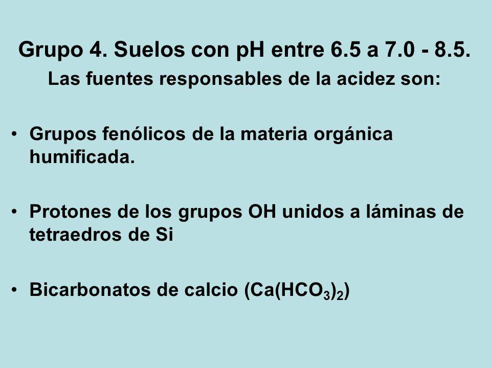 Grupo 4. Suelos con pH entre 6.5 a 7.0 - 8.5.