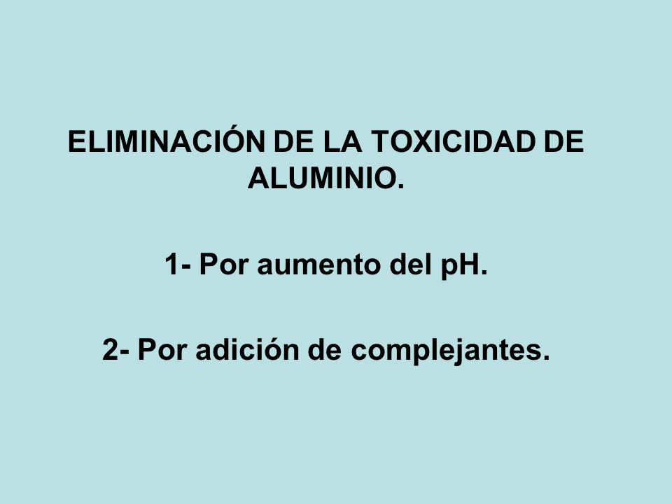 ELIMINACIÓN DE LA TOXICIDAD DE ALUMINIO.
