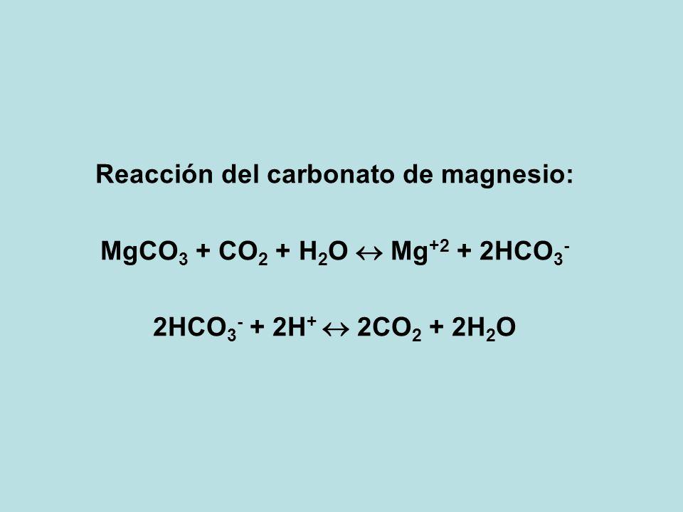 Reacción del carbonato de magnesio:
