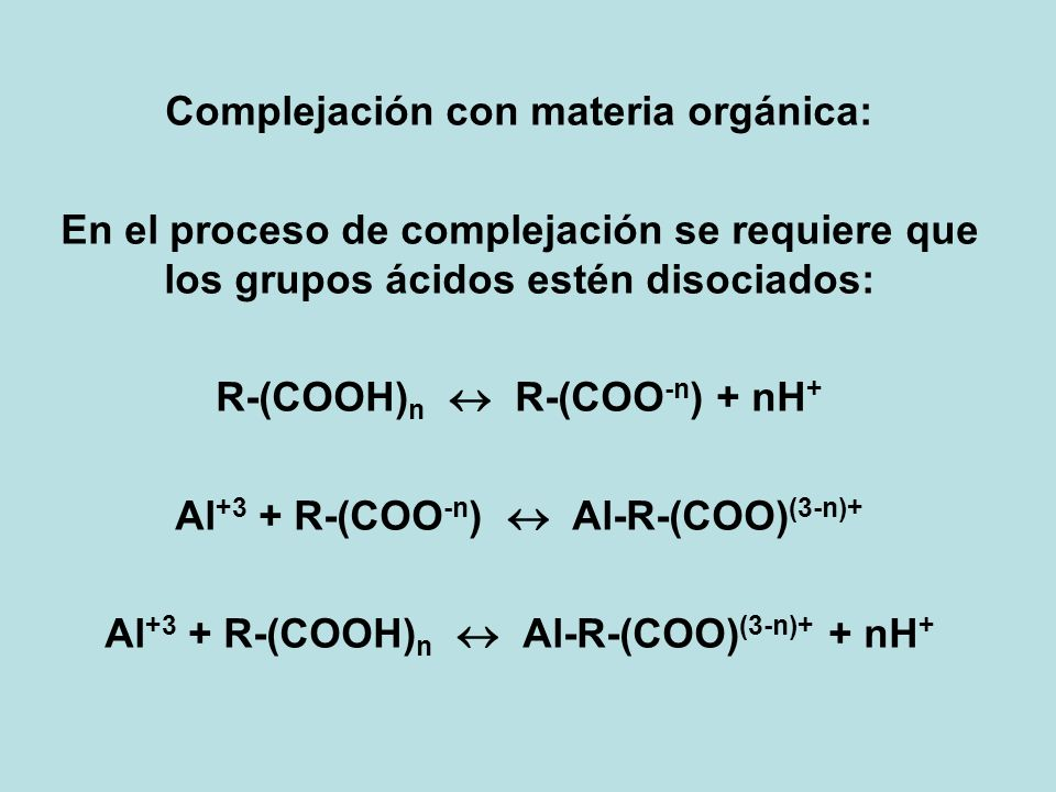 Complejación con materia orgánica:
